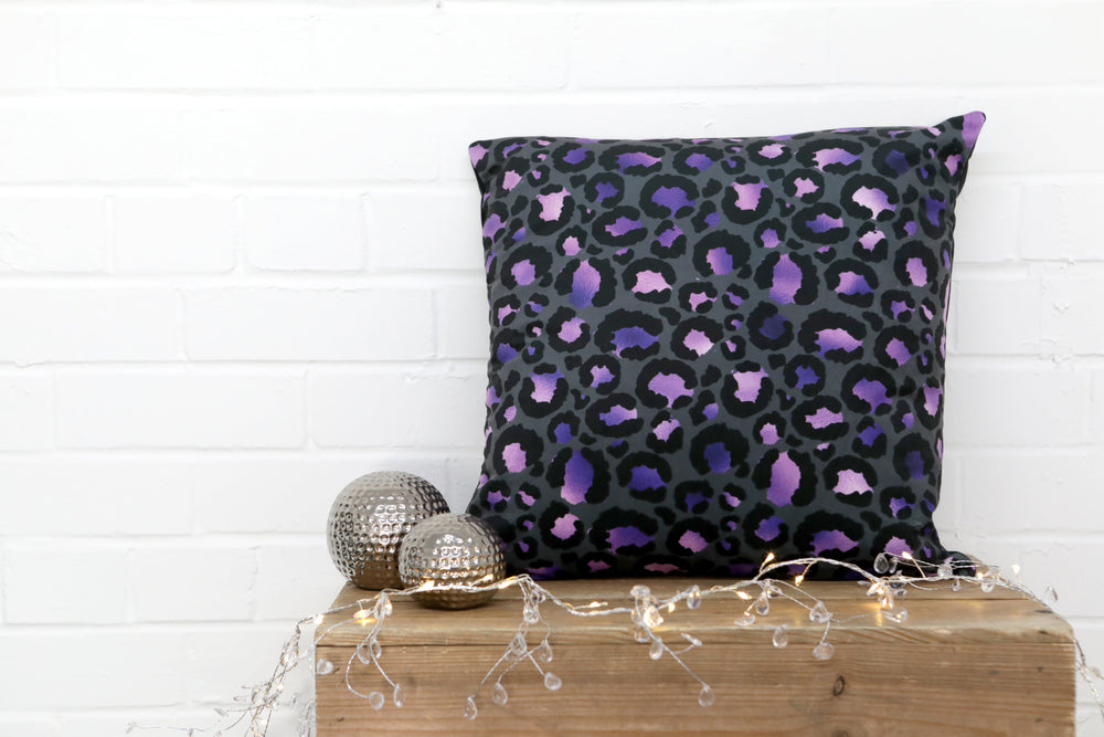 Leopard Print Purple Velvet Cushion