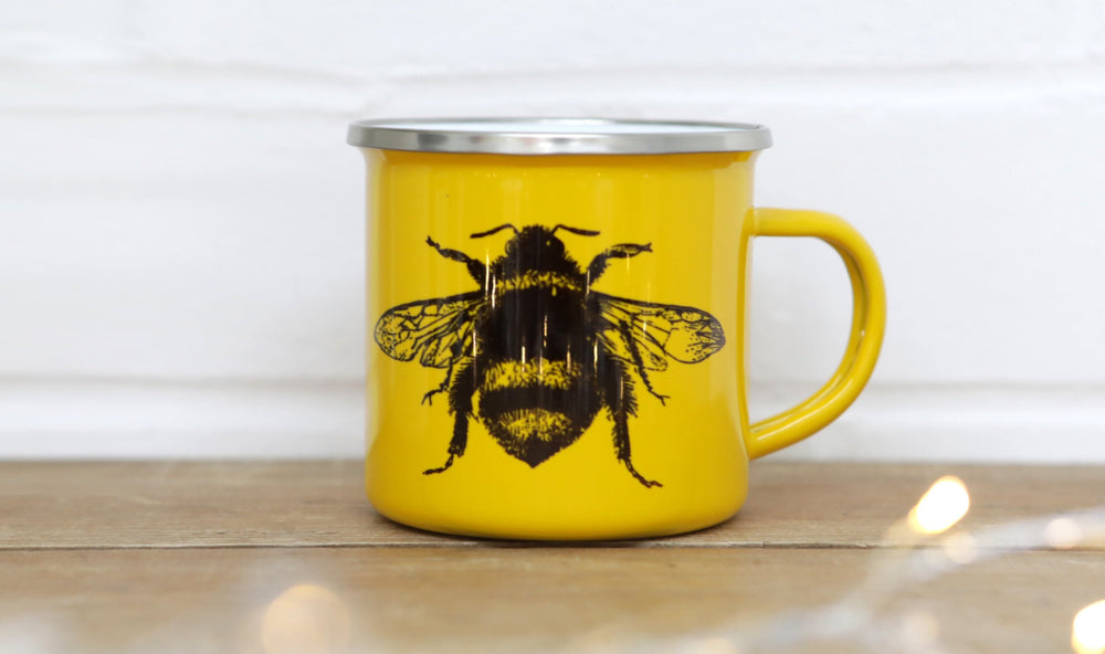 Yellow Bee Enamel Mug