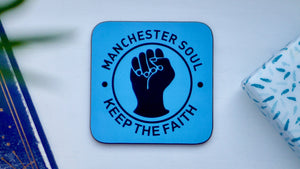 Load image into Gallery viewer, Manchester Northern Soul Coaster - City Blue - Kitsch Republic