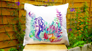 Mermaid Cushion - Canvas Feel Cushion inc. Inner 45cm x 45cm