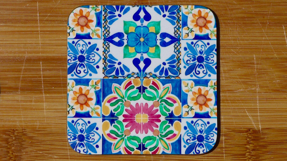 Load image into Gallery viewer, Mexican Blue Tile Coaster - Kitsch Republic
