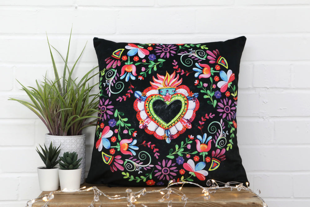 Mexican Hearts and Flowers Velvet Cushion