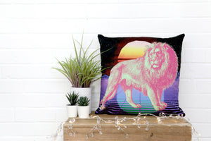 Load image into Gallery viewer, Neon Lion  Velvet Cushion