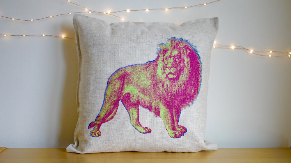 Retro Neon Lion Cushion - Canvas Feel Cushion inc. Inner 45cm x 45cm