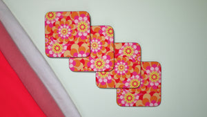 Retro Orange Flowers - Set of 4 Coasters - Kitsch Republic