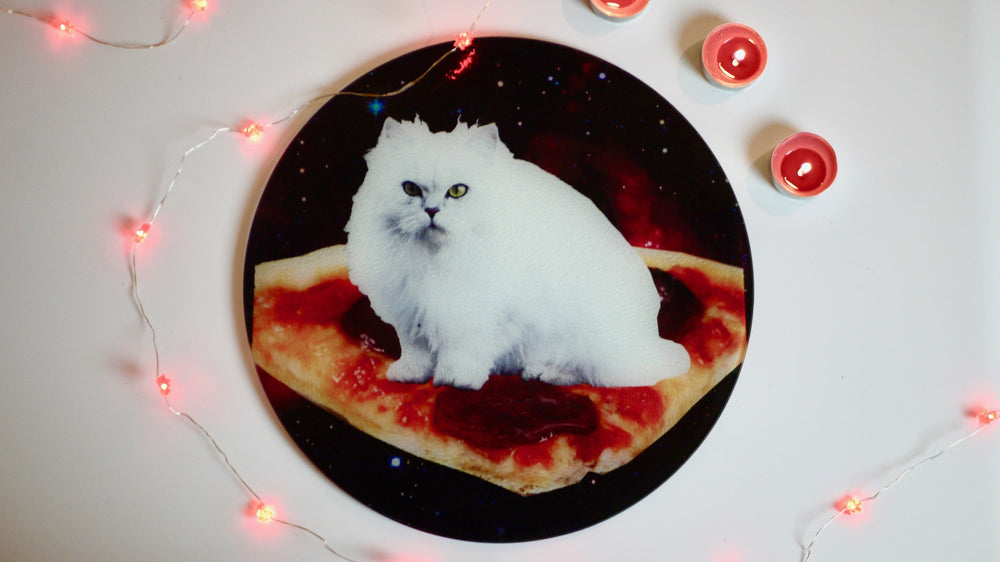 Pizza Cat in Space Glass Worktop Saver - Chopping Board - Placemat - Kitsch Republic