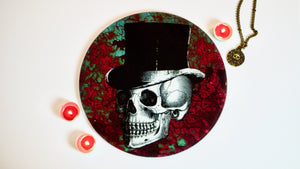 Load image into Gallery viewer, Rust Skull Steampunk Glass Worktop Saver - Chopping Board - Placemat - Kitsch Republic
