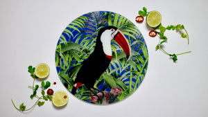 Tropical Toucan Bird Glass Worktop Saver - Chopping Board - Placemat - Kitsch Republic
