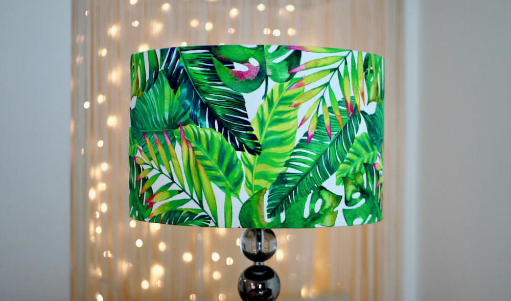 Green Tropical Leaves Handmade Lampshade - Kitsch Republic