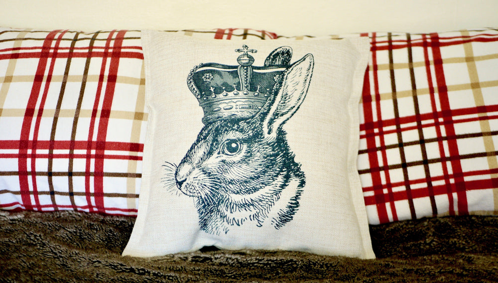 Load image into Gallery viewer, Rabbit Queen Cushion - Canvas Feel Cushion inc. Inner 45cm x 45cm