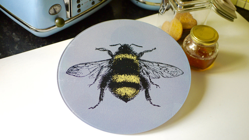 Grey Bee Glass Worktop Saver - Chopping Board - Placemat - Kitsch Republic