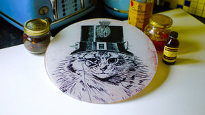 Load image into Gallery viewer, Steampunk Cat Glass Worktop Saver - Chopping Board - Placemat - Kitsch Republic