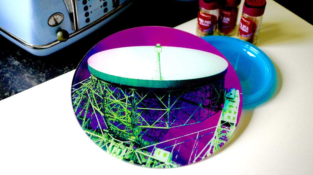 Load image into Gallery viewer, Jodrell Bank Pink Purple Glass Worktop Saver - Chopping Board - Placemat - Kitsch Republic