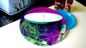 Jodrell Bank Pink Purple Glass Worktop Saver - Chopping Board - Placemat - Kitsch Republic