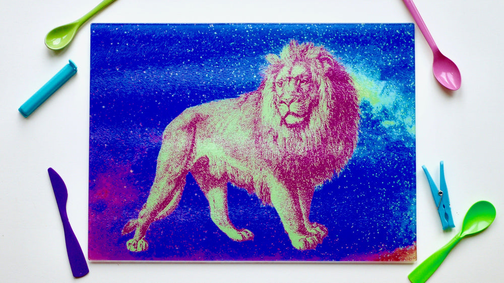 Load image into Gallery viewer, Neon Lion 40cm x 30cm Glass Worktop Saver / Serving Platter / Placemat