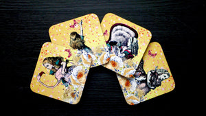 Alice in Wonderland Coasters - Yellow - Set of 4 - Kitsch Republic