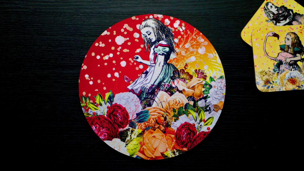 Alice in Wonderland Orange Worktop Saver - Chopping Board - Placemat - Kitsch Republic