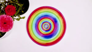 Load image into Gallery viewer, Rainbow Colourful Glass Worktop Saver - Chopping Board - Placemat - Kitsch Republic