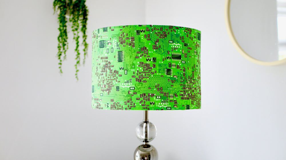 Green Circuit Board Lampshade - Computer Geek - Kitsch Republic