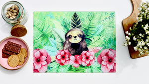 Cute Sloth 40cm x 30cm Toughened Glass Chopping Board / Worktop Saver / Cutting Board / Placemat - Kitsch Republic