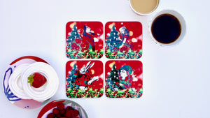 Alice in Wonderland Christmas Coasters - Red