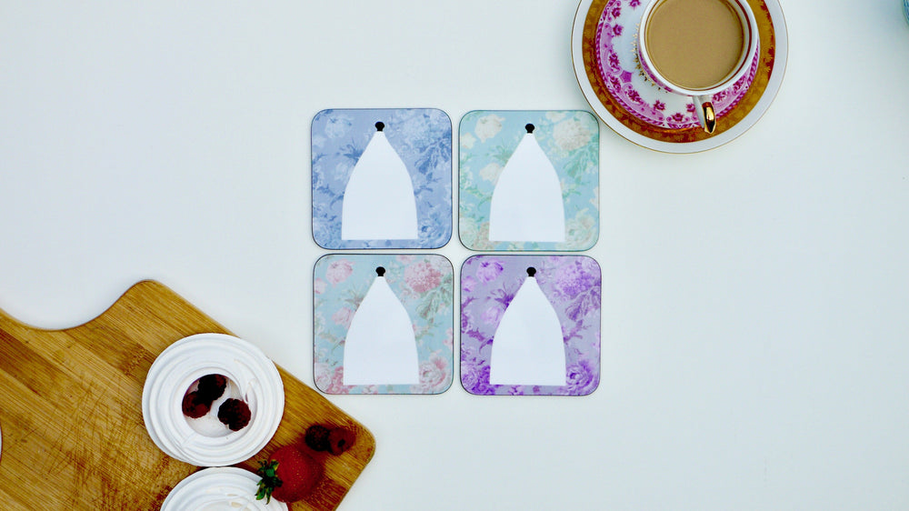 Load image into Gallery viewer, White Nancy Coasters - Bollington - Floral Set of 4