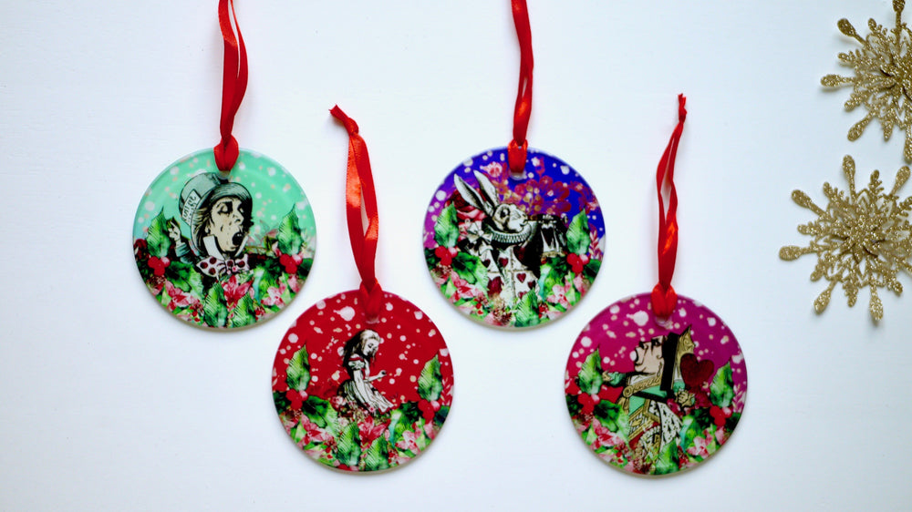 Set of four Alice in Wonderland Glass Christmas Decorations