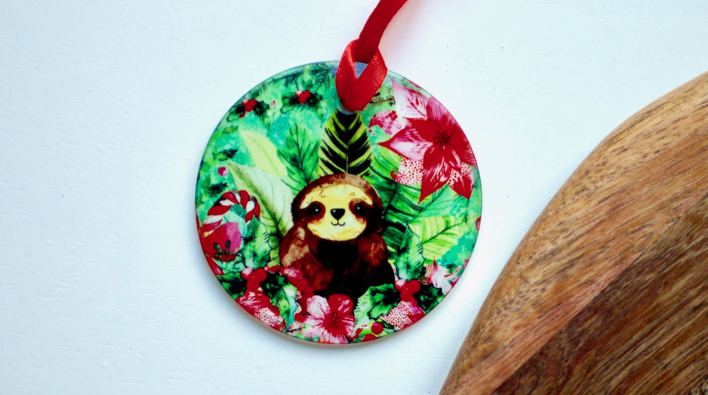 Load image into Gallery viewer, Sloth Chirstmas Decoration