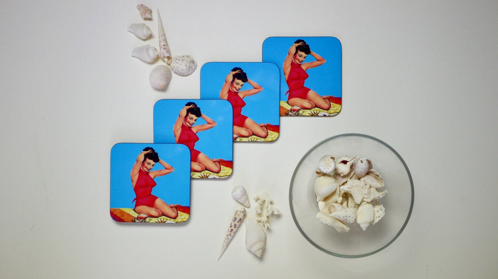 Pinup on the Beach - Set of 4 Coasters - Kitsch Republic