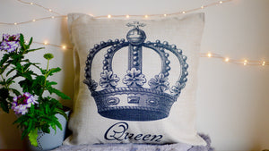 Queen Cushion - Canvas Feel Cushion inc. Inner 45cm x 45cm