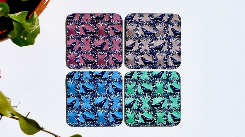 Load image into Gallery viewer, Raven Bird Coasters - Set of 4