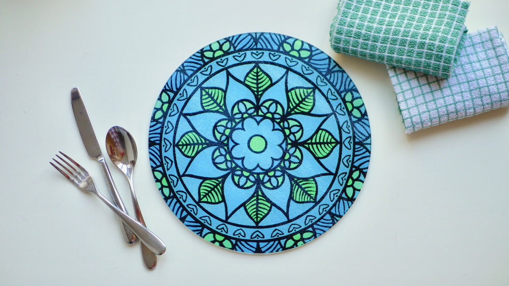 Blue Retro Glass Worktop Saver - Chopping Board - Placemat - Kitsch Republic
