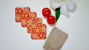 Load image into Gallery viewer, Retro Pink Orange Flowers - Set of 4 Coasters - Kitsch Republic