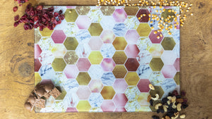 Rose Gold Marble Honeycomb Bee 40cm x 30cm Glass Worktop Saver / Serving Platter / Placemat - Kitsch Republic