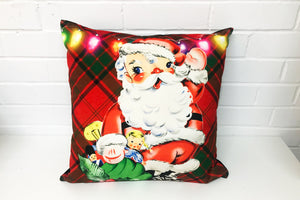 Vintage Santa Christmas Velvet Cushion