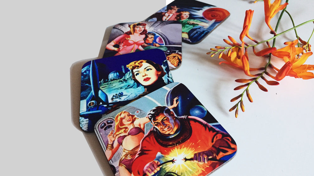 Load image into Gallery viewer, Retro Sci Fi Coasters - Set of 4