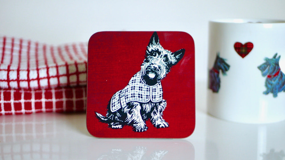 Scottie Dog / Terrier Red Tartan Coaster - Kitsch Republic