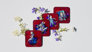 Dark Red Alice in Wonderland Coasters - Set of 4 - Kitsch Republic