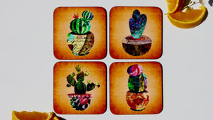 Load image into Gallery viewer, Cactus Succulents Coasters - Set of 4