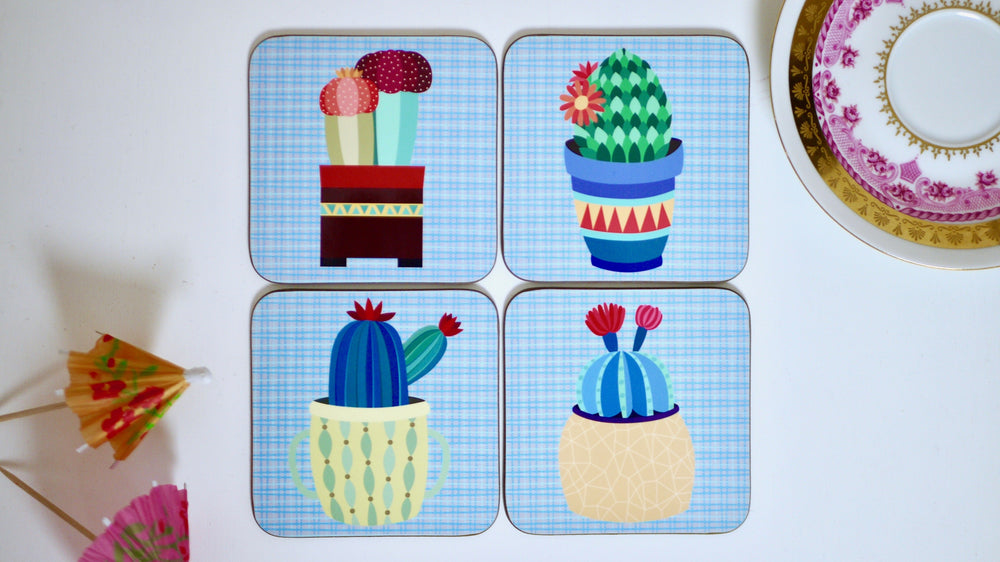 Cactus Succulents Coasters - Blue - Set of 4 - Kitsch Republic