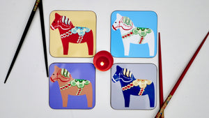 Load image into Gallery viewer, Swedish Dala Horses Coasters - Set of 4 - Kitsch Republic