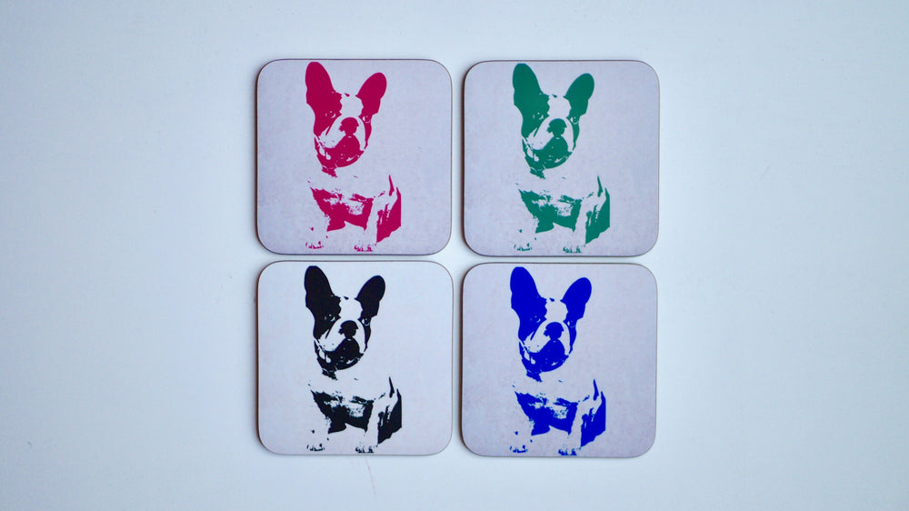 French Bulldog Dog Coasters - Set of 4