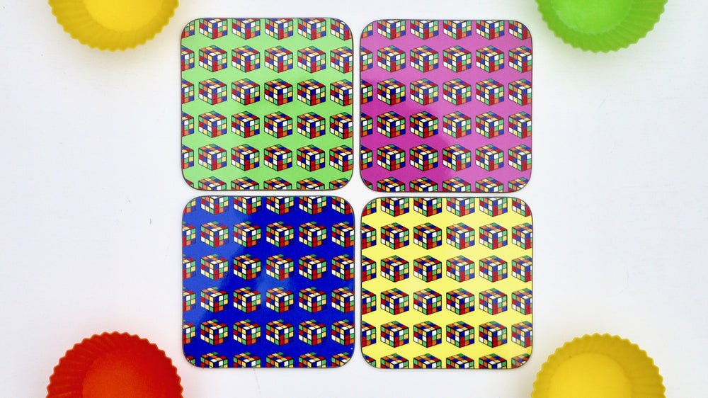 Load image into Gallery viewer, Neon 80s Rubix Cube Coasters  - Set of 4 - Kitsch Republic