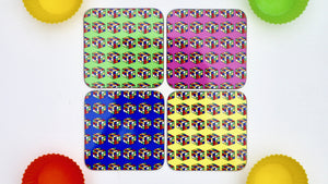 Neon 80s Rubix Cube Coasters  - Set of 4 - Kitsch Republic
