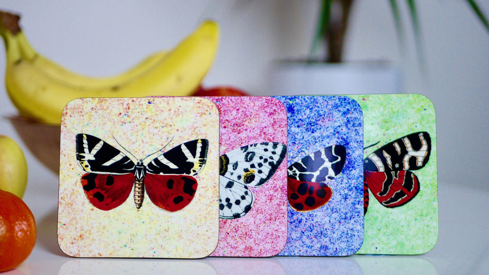 Load image into Gallery viewer, Vintage Style Butterfly Coasters  - Set of 4 - Kitsch Republic
