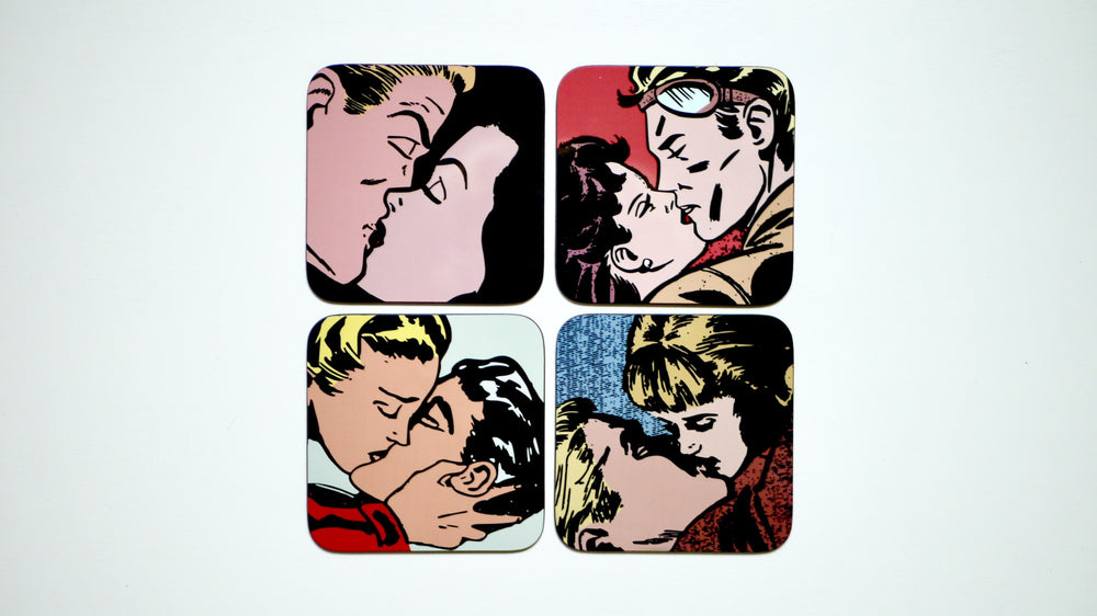 Vintage Kiss Coasters  - Set of 4 - Kitsch Republic