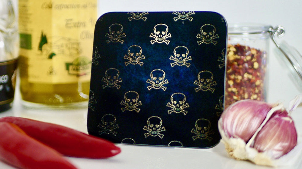 Black and Gold Skull and Crossbones Coaster - Pirate - Kitsch Republic