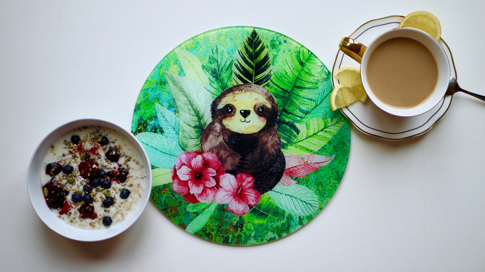 Cute Green Sloth Glass Worktop Saver - Chopping Board - Placemat