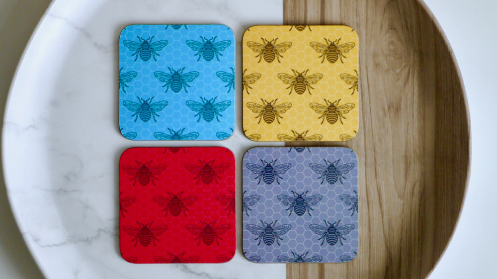 Worker Bee Coasters  - Set of 4 - Red Grey Pink Blue - Kitsch Republic