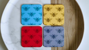 Load image into Gallery viewer, Worker Bee Coasters  - Set of 4 - Red Grey Pink Blue - Kitsch Republic
